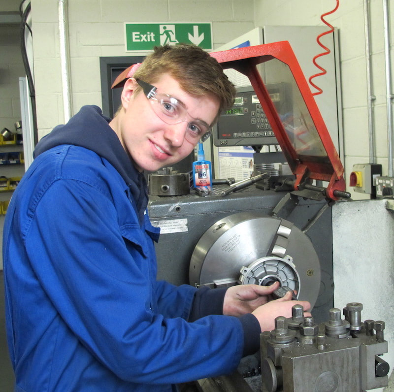 Apprentice mechanical engineer Liam Medley at Kenward Precision Engineering